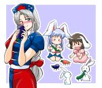 animal_ears black_hair brown_hair bunny bunny_tail carrot chibi cucumber eggplant inaba_tewi long_hair rabbit rabbit_ears reisen_udongein_inaba short_hair shouryouuma shouzu_choukou silver_hair touhou white_hair yagokoro_eirin