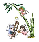 3girls :3 animal_ears azuki_osamitsu bamboo bamboo_forest basket bloomers blue_hair brown_hair bunny bunny_ears bunny_tail cat_ears cat_tail chen chibi earrings forest hardhat helmet inaba_tewi jewelry ladder multiple_girls multiple_tails nature open_mouth rabbit rabbit_ears reisen_udongein_inaba scared shouzu_choukou tail tears touhou tree trees