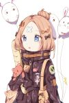1girl :o abigail_williams_(fate/grand_order) absurdres azureine bag balloon bangs black_bow black_jacket blonde_hair blue_eyes bow character_name commentary_request crossed_bandaids eyebrows_visible_through_hair fate/grand_order fate_(series) food fou_(fate/grand_order) hair_bow hair_bun heroic_spirit_traveling_outfit highres holding holding_balloon jacket long_hair long_sleeves looking_away medjed object_hug orange_bow parted_bangs parted_lips pocky polka_dot polka_dot_bow shoulder_bag simple_background sleeves_past_fingers sleeves_past_wrists solo stuffed_animal stuffed_toy teddy_bear white_background