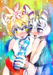 2girls :3 :d animal_ears bangs bare_shoulders black_hair blonde_hair breasts closed_mouth eyebrows_visible_through_hair grey_hair hair_between_eyes hair_ornament hakkasame kemonomimi_mode large_breasts looking_at_another mouse_ears multicolored_hair multiple_girls nazrin open_mouth red_eyes short_hair smile streaked_hair tiger_ears tongue tongue_out toramaru_shou touhou twitter_username two-tone_hair yellow_eyes