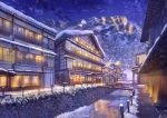 afloat bridge building clouds highres house ice ice_floe mountain night night_sky niko_p no_humans original outdoors path pipes railing revision river road scenery signature sky snow snowing still_life stream town tree water window winter