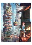 1girl 2011 absurdres animal_ears artist_name brown_eyes cable_car chong_feigiap cityscape highres leaning long_hair looking_at_viewer original redhead scenery school_uniform solo stairs standing tail tower watermark web_address