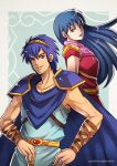 1boy 1girl 90s armor blue_eyes blue_hair breastplate cape fire_emblem fire_emblem:_ankoku_ryuu_to_hikari_no_tsurugi fire_emblem:_monshou_no_nazo gzei husband_and_wife intelligent_systems long_hair looking_at_viewer marth nintendo sheeda smile