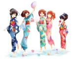 5girls akiyama_yukari alternate_hairstyle arm_up bangs black_hair blue_kimono blunt_bangs brown_eyes brown_hair candy_apple closed_mouth commentary cotton_candy eating fan food girls_und_panzer green_kimono hair_bun hair_ornament hair_up hairband holding isuzu_hana japanese_clothes kimono kosame_koori long_hair long_sleeves looking_at_another looking_up messy_hair multiple_girls nishizumi_miho obi open_mouth orange_hair paper_fan pink_kimono print_kimono pursed_lips red_kimono reizei_mako sash short_hair side_ponytail simple_background sky smile squatting standing standing_on_one_leg swept_bangs takebe_saori wading water_balloon white_background white_hairband wide_sleeves