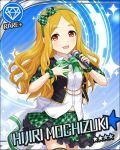 blonde_hair blush character_name dress idolmaster idolmaster_cinderella_girls long_hair microphone mochizuki_hijiri red_eyes smile stars