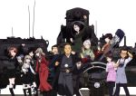 4boys 6+girls absurdres akiyama_jungorou akiyama_yoshiko apron arm_behind_back arm_behind_head azumi_(girls_und_panzer) bald bangs beret black_eyes black_footwear black_gloves black_hair black_hat black_jacket black_legwear black_neckwear black_ribbon black_skirt blazer blue_eyes boko_(girls_und_panzer) boots bow bowtie brown_eyes camera cane casual chouno_ami collared_shirt cross-laced_footwear dress_shirt emblem eyebrows_visible_through_hair facial_hair formal girls_und_panzer glasses gloves green_jacket green_kimono green_shirt green_skirt grey_apron grey_eyes grey_hair grin hair_bun hair_ribbon hand_holding hand_on_another's_shoulder hat high-waist_skirt highres holding holding_camera holding_stuffed_animal isuzu_yuri jacket japan_ground_self-defense_force japan_self-defense_force japanese_clothes japanese_tankery_league_(emblem) karl_gerat kimono lace-up_boots layered_skirt leg_up light_brown_hair long_hair long_skirt long_sleeves looking_at_another looking_at_viewer looking_back mary_janes mature megumi_(girls_und_panzer) military military_hat military_uniform miniskirt mother_and_daughter multiple_boys multiple_girls mustache neck_ribbon necktie official_art one_eye_closed open_mouth pantyhose pencil_skirt pink_kimono pullcart purple_apron raised_fist red_jacket red_skirt reizei_hisako ribbon round_eyewear rumi_(girls_und_panzer) selection_university_(emblem) selection_university_military_uniform sheer_legwear shimada_arisu shimada_chiyo shirt shoes short_hair side_ponytail silver_hair skirt skirt_suit smile standing standing_on_one_leg striped striped_legwear stuffed_animal stuffed_toy sugita_junzaburou suit suspender_skirt suspenders swept_bangs teddy_bear uniform v v-shaped_eyebrows vehicle_request waving white_shirt