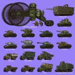blue_background caterpillar_tracks ground_vehicle hamcoro js-2 jsu-152 katiusza kv-1 kv-2 kv-85 marienwagen_gepanzert mendelejev military military_vehicle motor_vehicle original pixel_art simple_background t-100_varsuk tank tank_focus truck tsar_tank vehicle_focus vehicle_request zis-5