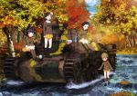4girls absurdres arm_support asymmetrical_bangs autumn autumn_leaves bangs black_footwear black_hair blue_sky blush_stickers boots braid brown_eyes brown_footwear brown_hair brown_hat brown_jacket camouflage chi-hatan_(emblem) chi-hatan_military_uniform clouds cloudy_sky crossed_arms cup day emblem food fukuda_(girls_und_panzer) girls_und_panzer glasses green_eyes hair_over_shoulder hair_rings hair_tie hat helmet highres hosomi_(girls_und_panzer) jacket knee_boots long_hair long_sleeves looking_at_another military military_uniform miniskirt multiple_girls nishi_kinuyo official_art onigiri open_mouth outdoors pleated_skirt round_eyewear shading_eyes shirt short_hair single_braid sitting skirt sky smile standing tamada_(girls_und_panzer) thermos tree twin_braids twintails uniform wading white_shirt yellow_skirt zipper