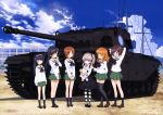 6+girls absurdres ahoge akiyama_yukari arm_behind_back arms_behind_head bandage bangs black_eyes black_footwear black_hair black_legwear black_neckwear black_ribbon black_skirt blouse blue_sky blunt_bangs boko_(girls_und_panzer) bow bowtie brown_eyes brown_footwear brown_hair building casual centurion_(tank) closed_eyes collared_shirt day emblem eyebrows_visible_through_hair girls_und_panzer green_skirt ground_vehicle hair_ribbon hairband hand_on_another's_shoulder high-waist_skirt highres holding holding_stuffed_animal isuzu_hana laughing layered_skirt light_brown_hair light_smile loafers long_hair long_sleeves looking_at_another looking_at_viewer mary_janes messy_hair military military_vehicle miniskirt motor_vehicle multiple_girls neckerchief nishizumi_miho official_art ooarai_school_uniform open_mouth orange_eyes orange_hair outdoors pantyhose pleated_skirt reizei_mako ribbon school_uniform selection_university_(emblem) serafuku shimada_arisu shirt shoes short_hair side_ponytail skirt sky sleeping sleeping_upright smile socks standing striped striped_legwear stuffed_animal stuffed_toy suspender_skirt suspenders takebe_saori tank teddy_bear thigh-highs tower tree v_arms white_blouse white_hairband white_shirt