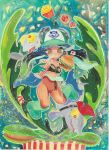 1girl baseball_cap black_bra boots bra cephalopod_eyes chum_(splatoon) collarbone commentary_request cup dark_skin disposable_cup drinking drinking_straw fast_food food french_fries gloves hamburger hat highres holding holding_food iida_(splatoon) makeup mascara mcdonald's midriff nintendo octarian pink_pupils plant salmonid splatoon splatoon_2 suction_cups tentacle_hair tibibanbi tomato underwear venus_flytrap