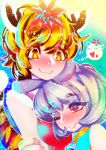 2girls :3 ;) animal_ears black_hair blonde_hair closed_mouth eyebrows_visible_through_hair hair_ornament hakkasame jewelry kemonomimi_mode looking_at_another mouse_ears multicolored_hair multiple_girls nazrin one_eye_closed pendant red_eyes short_hair silver_hair smile streaked_hair tail tiger_ears tiger_tail toramaru_shou touhou twitter_username two-tone_hair yellow_eyes
