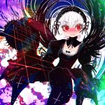 1girl bangs black_dress black_hairband black_ribbon black_wings breasts cleavage closed_mouth cross detached_collar dress eyebrows_visible_through_hair feathered_wings frown gothic_lolita hair_between_eyes hairband hakkasame juliet_sleeves lolita_fashion lolita_hairband long_sleeves neck_ribbon puffy_sleeves red_eyes ribbon rozen_maiden solo suigintou white_hair wings