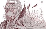 1girl armor crown dated feathers fire_emblem fire_emblem_heroes flower gloves greyscale hair_ornament holding holding_flower long_hair monochrome nintendo parted_lips petals shoulder_armor signature simple_background solo veronica_(fire_emblem) wani_(fadgrith) white_background