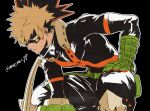 1boy bakugou_katsuki black_background blonde_hair boku_no_hero_academia domino_mask gloves green_gloves highres looking_at_viewer male_focus mask outline parted_lips red_eyes simple_background spiky_hair squatting superhero twitter_username white_outline