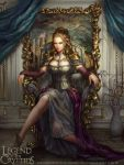 1girl blonde_hair blue_eyes boots breasts card cleavage copyright_name curtains fantasy laura_sava legend_of_the_cryptids long_hair official_art queen sitting solo throne