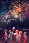 5girls aerial_fireworks akiyama_yukari alternate_hairstyle arm_up bangs black_hair blue_kimono blunt_bangs brown_eyes brown_hair candy_apple closed_mouth commentary cotton_candy eating fan fireworks food girls_und_panzer green_kimono hair_bun hair_ornament hair_up hairband highres holding isuzu_hana japanese_clothes kimono kosame_koori long_hair long_sleeves looking_at_another looking_up messy_hair multiple_girls night night_sky nishizumi_miho obi open_mouth orange_hair paper_fan pink_kimono print_kimono pursed_lips red_kimono reizei_mako sash short_hair side_ponytail sky smile squatting standing standing_on_one_leg swept_bangs takebe_saori white_hairband wide_sleeves