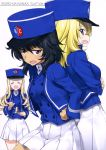 3girls :d absurdres andou_(girls_und_panzer) back-to-back bangs bc_freedom_(emblem) bc_freedom_military_uniform black_hair blonde_hair blue_eyes blue_hat blue_jacket blue_vest brown_eyes cover cover_page crossed_arms dark_skin doujin_cover dress_shirt drill_hair eating emblem eyebrows_visible_through_hair food food_on_face fork frown girls_und_panzer hand_on_hip hat high_collar highres holding holding_fork jacket kurashima_tomoyasu long_hair long_sleeves looking_at_viewer marie_(girls_und_panzer) medium_hair messy_hair multiple_girls open_mouth oshida_(girls_und_panzer) saucer shirt smile standing vest