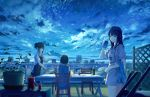 3girls apron beer_can black_hair blue blue_eyes blurry bottle can chair city_lights cityscape clothes_writing clouds cowboy_shot cup depth_of_field dress drinking_glass expressionless fan figure from_behind full_moon highres looking_at_another looking_at_viewer looking_down moon multiple_girls night night_sky original outdoors paper_fan plant plate potted_plant revision rooftop salad shadow shirt shooting_star short_hair short_hair_with_long_locks short_ponytail sky sleeveless sleeveless_dress smile standing star_(sky) starry_sky sugi87 t-shirt table trellis uchiwa wine_bottle wine_glass wooden_floor yellow_eyes