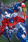 80s 90s alex_milne autobot blue_eyes crossover energy_sword glowing glowing_eyes green_eyes gun gundam gundam_seed gundam_seed_destiny holding impulse_gundam insignia machine machinery mecha no_humans oldschool optimus_prime robot science_fiction shield space sword tagme transformers weapon