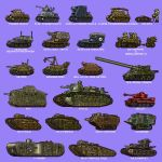 a7v_(tank) blue_background explosive fcm_2c goliath_tracked_mine ground_vehicle hamcoro jagdpanzer_38(t) k-wagen kettenkrad kleine_panzerbefehlswagen mark_a_whippet mark_iv_tank military military_vehicle mine_(weapon) motor_vehicle oka_420mm_cannon original panzerkampfwagen_i pixel_art red_cross saint-chamond schneider sd.kfz.135 seclet simple_background tank tank_focus vehicle_focus vehicle_request