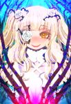 1girl bangs blonde_hair blunt_bangs eyebrows_visible_through_hair flower flower_eyepatch hair_flower hair_ornament hakkasame kirakishou looking_at_viewer open_mouth orange_eyes plant rose rozen_maiden smile solo thorns two_side_up upper_body vines white_flower white_rose