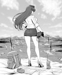 1girl absurdres ass backpack bag bangs blouse blunt_bangs canteen closed_mouth clouds cloudy_sky commentary day fingerless_gloves from_behind frown full_body garrison_cap girls_und_panzer gloves greyscale guhanshounen halftone hand_on_hip hat high_heels highres holding_binoculars kneepits long_hair looking_at_viewer looking_back map mature military military_hat military_uniform miniskirt monochrome mountain nishizumi_shiho outdoors pencil_skirt skirt sky sleeves_rolled_up smoke solo standing straight_hair uniform walkie-talkie wind