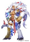 1girl bead_bracelet beads bracelet bracer breasts brown_legwear choker cleavage closed_eyes dark_skin dmm facing_viewer feathers full_body fur glint hair_feathers hands_on_hips jewelry long_hair looking_at_viewer medium_breasts monkey_girl monster_girl muscle muscular_female official_art shoulder_armor simple_background smile solo tail tail_feathers teeth thigh_strap white_background white_hair yuba_no_shirushi yuzu_shio