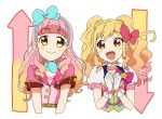2girls :d aikatsu!_(series) aikatsu_friends! aikatsu_stars! bangs belt blonde_hair blunt_bangs blush bow brown_eyes choker clenched_hands commentary eyebrows_visible_through_hair gloves gradient_hair hair_bow hair_ribbon hairband idol long_hair looking_at_another multicolored_hair multiple_girls nijino_yume open_mouth own_hands_together pink_hair puffy_short_sleeves puffy_sleeves ribbon sakuragi_mochi short_sleeves smile twintails upper_body yuuki_aine
