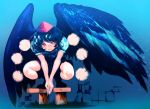 1girl bare_arms bird_wings black_hair black_ribbon black_wings closed_mouth feathered_wings full_body geta hakkasame hat looking_at_viewer orange_eyes pom_pom_(clothes) puffy_short_sleeves puffy_sleeves red_hat ribbon shameimaru_aya short_hair short_sleeves smile solo squatting tengu-geta tokin_hat touhou v_arms wings