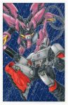 80s 90s alex_milne arm_cannon cannon crossover decepticon glowing glowing_eyes green_eyes gundam gundam_epyon gundam_wing highres insignia machinery mecha mechanization megatron no_humans oldschool open_mouth red_eyes robot science_fiction shield tagme transformers weapon wings