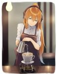 1girl aqua_eyes black_apron black_ribbon blue_hair blurry blurry_background border breasts closed_mouth coffee coffee_filter collared_shirt cup dabuki depth_of_field eyebrows_visible_through_hair girls_frontline gradient_hair hair_ribbon half-closed_eyes high_ponytail highres holding indoors jug light_bulb long_hair looking_away looking_down m1903_springfield_(girls_frontline) medium_breasts multicolored_hair orange_hair pink_lips ribbon shiny shiny_hair shirt sleeves_folded_up smile solo steam straight_hair table upper_body very_long_hair water white_border white_shirt wing_collar