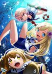 3girls air_bubble blonde_hair blue_eyes bracelet breasts bubble clothes_writing crop_top enemy_lifebuoy_(kantai_collection) fish floating_hair flower freediving hair_flower hair_ornament hairband i-26_(kantai_collection) i-58_(kantai_collection) jewelry kantai_collection kyon_(fuuran) lifebuoy light_brown_eyes light_brown_hair long_hair looking_at_viewer medium_breasts multiple_girls name_tag neckerchief new_school_swimsuit ocean old_school_swimsuit one-piece_swimsuit one-piece_tan pink_eyes pink_hair red_eyes ro-500_(kantai_collection) sailor_collar school_swimsuit school_uniform serafuku short_hair short_sleeves small_breasts smile submerged swimsuit swimsuit_under_clothes tan tanline torpedo two-tone_hairband two_side_up underwater