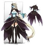 1girl absurdly_long_hair black_legwear blonde_hair blue_eyes breasts bug butterfly butterfly_eyepatch character_request character_sheet choker cleavage cloud_kingdom detached_sleeves eyepatch full_body insect large_breasts long_hair multiple_views original pas_(paxiti) showgirl_skirt thigh-highs turnaround twintails very_long_hair