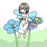 1girl :> barefoot blue_eyes blue_flower collarbone cup dress fairy fairy_wings flower food from_above from_below green_background green_bag hand_on_own_thigh holding holding_cup light_brown_hair maruput minigirl onigiri original pointy_ears short_hair sitting sleeveless sleeveless_dress smile solo two-tone_background white_background white_dress wings