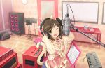 _viewer animal_ears blush brown_eyes cat_ears cat_tail dress fand hands_on_headphones headphones idolmaster idolmaster_cinderella_girls idolmaster_cinderella_girls_starlight_stage looking_at maekawa_miku microphone open_mouth radio_booth recording_studio short_hair singing smile studio_microphone wink