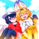 2girls :d ;) ^_^ animal_ear_fluff animal_ears bangs black_eyes black_hair black_legwear blue_sky closed_eyes closed_eyes clouds day elbow_gloves eyebrows_visible_through_hair fangs gloves hakkasame hat hat_feather kaban_(kemono_friends) kemono_friends looking_at_another multiple_girls one_eye_closed open_mouth orange_hair outdoors pantyhose pantyhose_under_shorts red_shirt serval_(kemono_friends) serval_ears serval_print serval_tail shirt short_hair shorts sky smile striped_tail tail thigh-highs white_gloves white_hat white_shorts yellow_legwear zettai_ryouiki