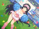 1girl alternate_costume bangs black_hair blue_eyes blush breasts cheerleader cleavage cowboy_shot crop_top crowd day ikaruga_(senran_kagura) large_breasts long_hair looking_at_viewer miniskirt navel official_art outdoors pom_poms senran_kagura senran_kagura_new_wave skirt smile solo stadium standing very_long_hair yaegashi_nan