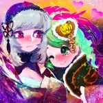2girls :> bangs black_ribbon breasts cleavage closed_mouth drill_hair eyebrows_visible_through_hair floral_print flower frown green_eyes green_hair grey_hair hair_ornament hairband hakkasame heart kanaria lolita_hairband long_hair looking_at_another medium_breasts multiple_girls red_eyes red_flower red_rose ribbon rose rozen_maiden smile suigintou tassel yellow_flower yellow_rose