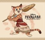 1girl brown_background brown_eyes cat character_name commentary_request copyright_name dress fangs furrification happy holding holding_oar moana_(movie) moana_waialiki no_humans oar pun shiroyama_rikuta smile solo standing zootopia