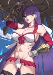 1girl abs bangs bare_shoulders bikini blue_eyes blunt_bangs blush breasts choker cleavage collarbone cross dutch_angle earrings elbow_gloves eyebrows_visible_through_hair fate/grand_order fate_(series) frilled_bikini frills gauntlets gloves hand_on_hip hips jewelry k_jin large_breasts long_hair looking_at_viewer muscle muscular_female navel open_mouth purple_hair red_gloves rock saint_martha saint_martha_(swimsuit_ruler)_(fate) solo straight_hair swimsuit thigh_strap thighs uppercut very_long_hair waist white_bikini