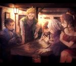 2girls 3boys blonde_hair bracelet brown_hair cape dancer dress gloves hat highres jewelry kik_miii long_hair multiple_boys multiple_girls necklace octopath_traveler olberic_eisenberg open_mouth ponytail primrose_azelhart scar scarf short_hair sleeping smile table therion_(octopath_traveler) tressa_(octopath_traveler) white_hair