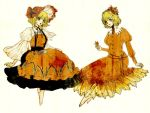 2girls aki_minoriko aki_shizuha alternate_headwear autumn_leaves bangs bonnet closed_mouth commentary dress food fruit full_body grapes hair_between_eyes hair_ornament hat holding leaf leaf_hair_ornament leaf_on_head long_sleeves multiple_girls nazo_(mystery) open_mouth orange_dress ribbon shirt short_hair siblings simple_background sisters smile standing touhou white_background white_shirt