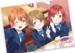 3girls ;d bangs birthday birthday_cake blue_bow blue_jacket blue_neckwear bow bowtie brown_hair buttons cake closed_mouth eichisu eyebrows_visible_through_hair food grin hair_between_eyes happy_birthday hoshizora_rin jacket koizumi_hanayo long_sleeves looking_at_viewer love_live! love_live!_school_idol_project multiple_girls nishikino_maki one_eye_closed open_mouth orange_hair plate redhead round_teeth school_uniform short_hair smile striped striped_bow striped_neckwear teeth v violet_eyes yellow_eyes