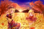 2girls aki_minoriko aki_shizuha apple autumn autumn_leaves blonde_hair carrying clouds cornucopia dress eyebrows_visible_through_hair food frilled_shirt_collar frilled_skirt frills fruit gradient_sky grapes hair_ornament hand_behind_head hat highres layered_dress leaf leaf_hair_ornament leg_lift looking_at_another looking_to_the_side maple_leaf mob_cap mountain multiple_girls niromi one_eye_closed outdoors red_dress rice_stalk short_hair siblings sisters skirt skirt_hold sky smile standing standing_on_one_leg sunset thick_eyebrows touhou tree twilight yellow_eyes
