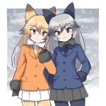 2girls :< aaru_(kerogero1582) animal_ears bangs black_gloves black_neckwear black_skirt blue_jacket blue_legwear blurry blurry_background bow bowtie brown_eyes closed_mouth commentary cowboy_shot ezo_red_fox_(kemono_friends) fox_ears fox_tail frown fur-trimmed_sleeves fur_trim gloves grey_hair hands_on_hips jacket kemono_friends locked_arms long_hair looking_at_viewer miniskirt multicolored_hair multiple_girls orange_eyes orange_hair orange_jacket orange_legwear outdoors outside_border pantyhose pleated_skirt silver_fox_(kemono_friends) skirt smile snow standing tail white_neckwear white_skirt