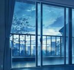 blue blue_sky building cityscape clouds cloudy_sky cola_(gotouryouta) commentary_request curtains day electric_socket indoors lens_flare monochrome open_window original power_lines scenery sky skyscraper tree window
