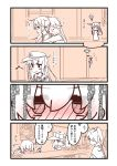 6+girls :> @_@ akatsuki_(kantai_collection) akebono_(kantai_collection) anchor_symbol around_corner blush carrying closed_eyes commentary_request drunk eyebrows_visible_through_hair flat_cap from_behind hat hibiki_(kantai_collection) highres houshou_(kantai_collection) kantai_collection light_bulb long_hair monochrome multiple_girls musical_note nose_blush piggyback ponytail ryuujou_(kantai_collection) spot_color translation_request twintails ushio_(kantai_collection) visor_cap yoru_nai
