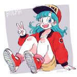 1girl :d bare_legs baseball_cap blue_eyes blue_hair blush_stickers bulma character_name commentary dragon_ball dragon_ball_(classic) english_commentary eyelashes fingernails floating_hair full_body happy hat highres jacket long_hair looking_away open_mouth purple_background red_footwear red_jacket shirt shoes shorts simple_background sitting smile sneakers socks solo tkgsize twitter_username two-tone_background v white_background white_shirt yellow_shorts