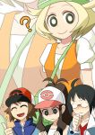 :d bag bel_(pokemon) between_breasts blonde_hair breast_envy breasts cheren_(pokemon) closed_eyes commentary_request creatures_(company) game_freak green_hat hat hora_(hora06) jacket long_hair medium_hair multiple_boys multiple_girls nintendo open_mouth orange_jacket pokemon pokemon_(game) pokemon_bw puffy_short_sleeves puffy_sleeves short_sleeves smile strap_cleavage touko_(pokemon) touya_(pokemon)