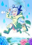 1girl :d alternate_costume bare_legs blue_bow blue_eyes blue_hair boots bow buttons cirno commentary_request elbow_gloves flower frog full_body gloves hair_between_eyes hair_bow hands_up happy hat highres holding holding_leaf holding_umbrella hood hood_down hydrangea ice ice_wings inuno_rakugaki leaf leaf_umbrella looking_afar open_mouth puddle rain raincoat rubber_boots running short_hair smile sparkle teruterubouzu touhou umbrella upper_teeth water water_drop wide-eyed wings yellow_footwear